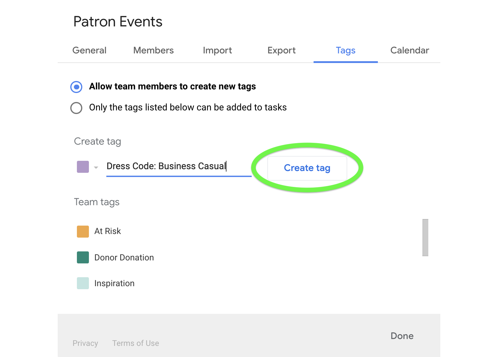 Create tags for your team in the Tags tab of team settings