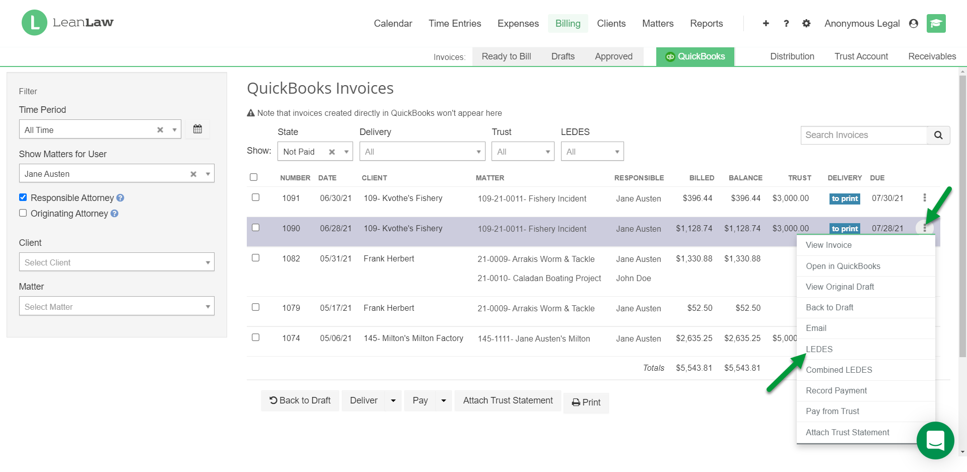 A screenshot of the QuickBooks page with indications for creating a LEDES file