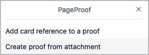Create proof from attachment menu option in Trello