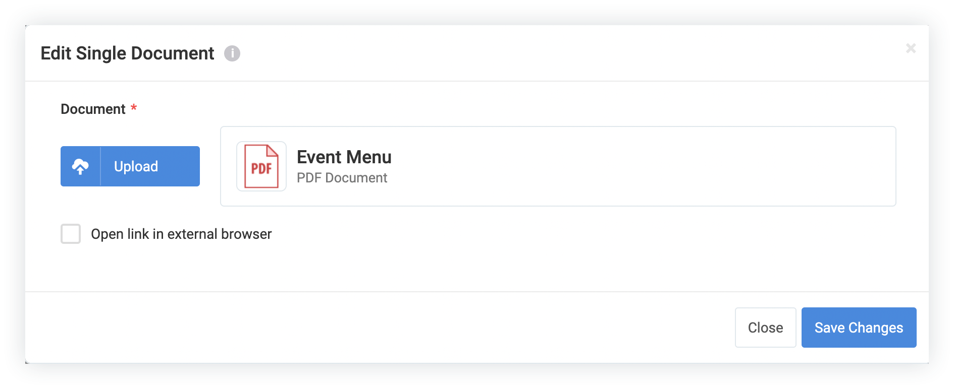 Screenshot of the Edit Single Document modal after a file has been uploaded.