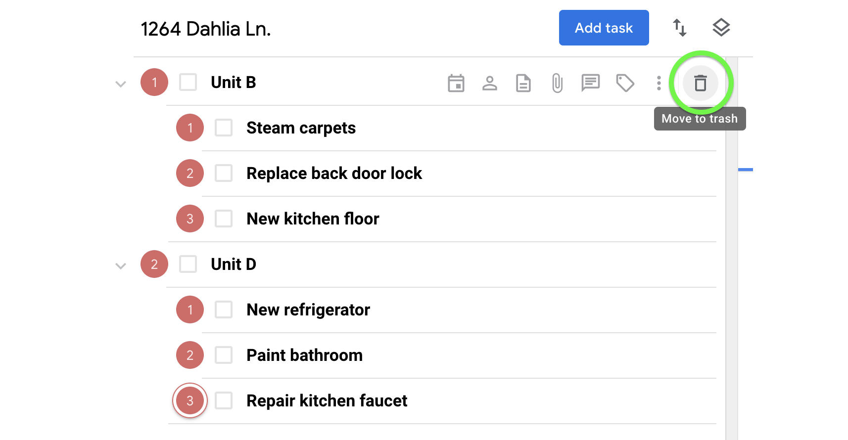 Moving a task with subtasks to the trash separates the parent task from the subtasks.
