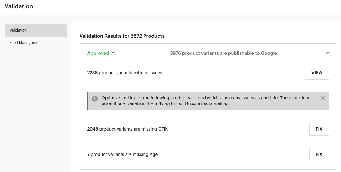 LimeSpot Product Feed Validation Approved Tab