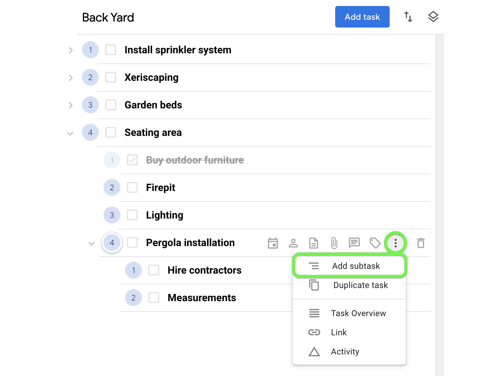 Create a subtask from the task menu.