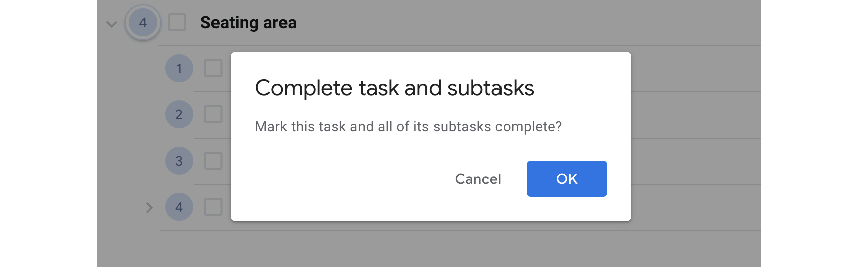 Mark all subtasks complete by completing the top level task.