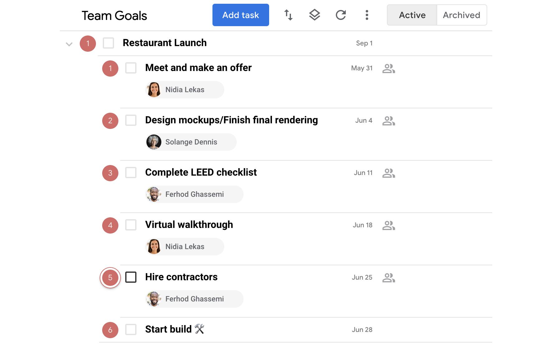 Use subtasks to track project milestones.