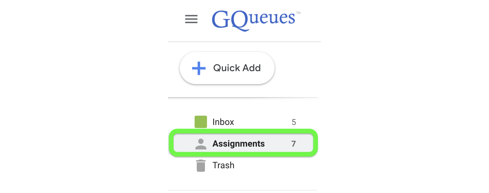 Assignments queue in lefthand panel of GQueues