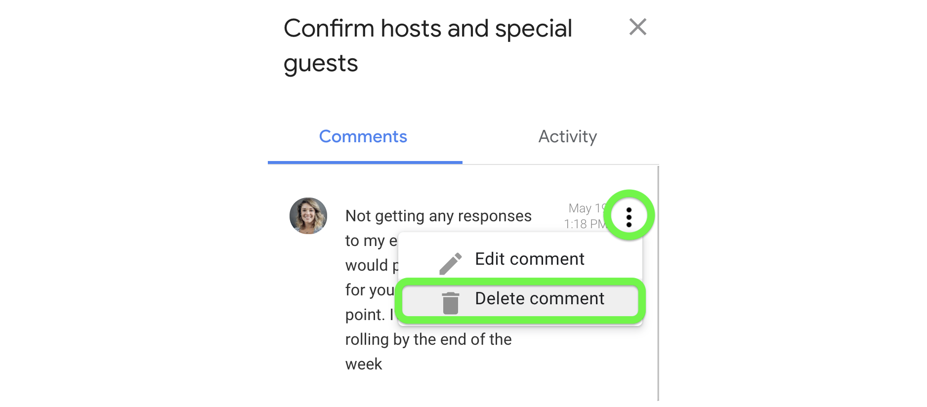 Delete a comment you've made