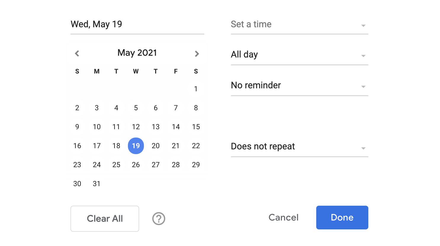 Calendar dropdown for a task