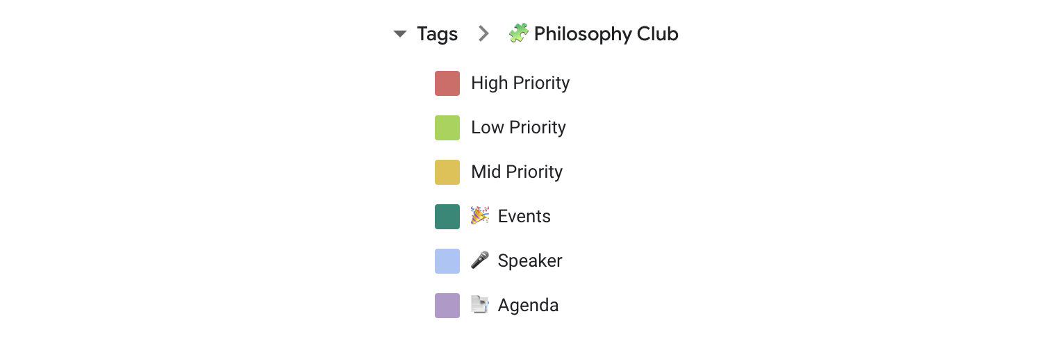 Use tags to categorize your tasks by priority.