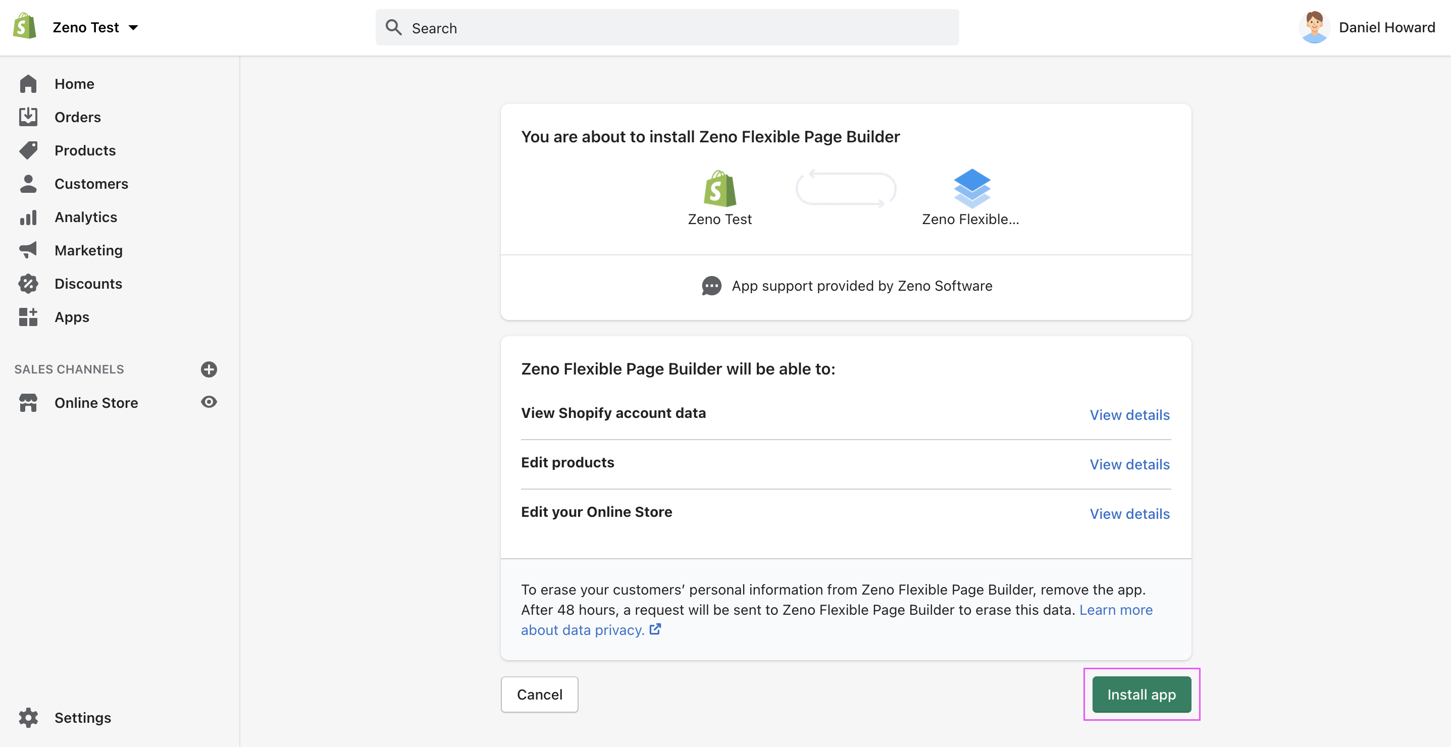 Install Zeno Page Builder for Shopify