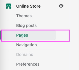 Shopify pages