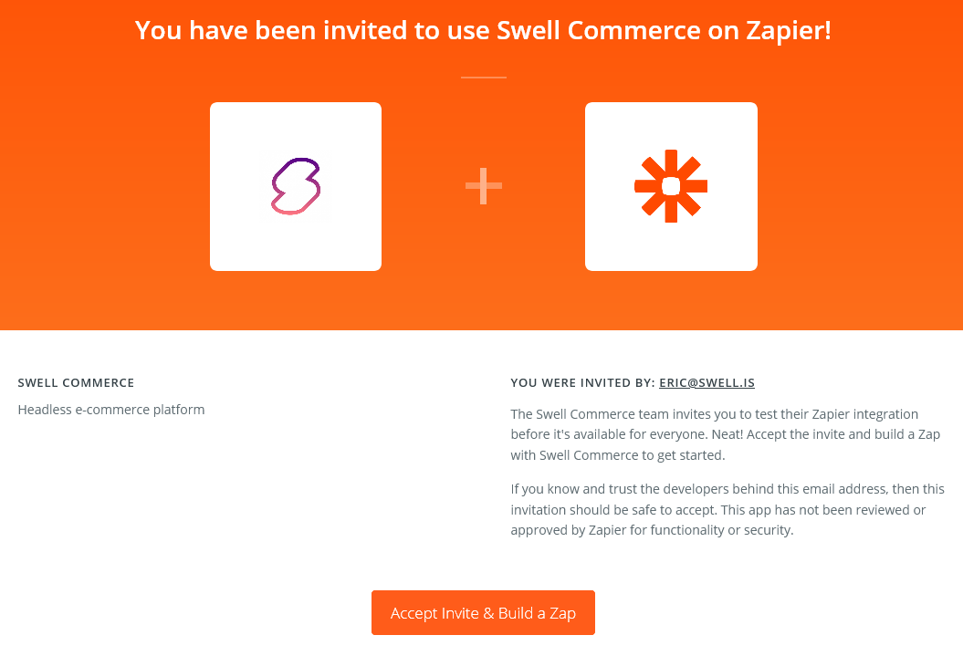 Swell Zapier invitation