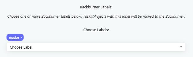 Adding a backburner label