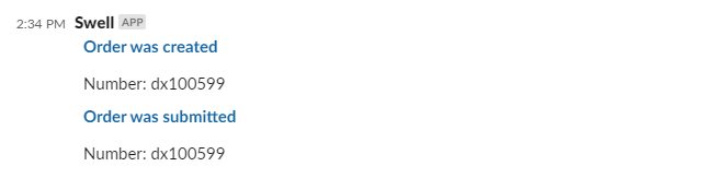Swell bot orders updates in Slack