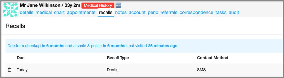 recall setting dentally