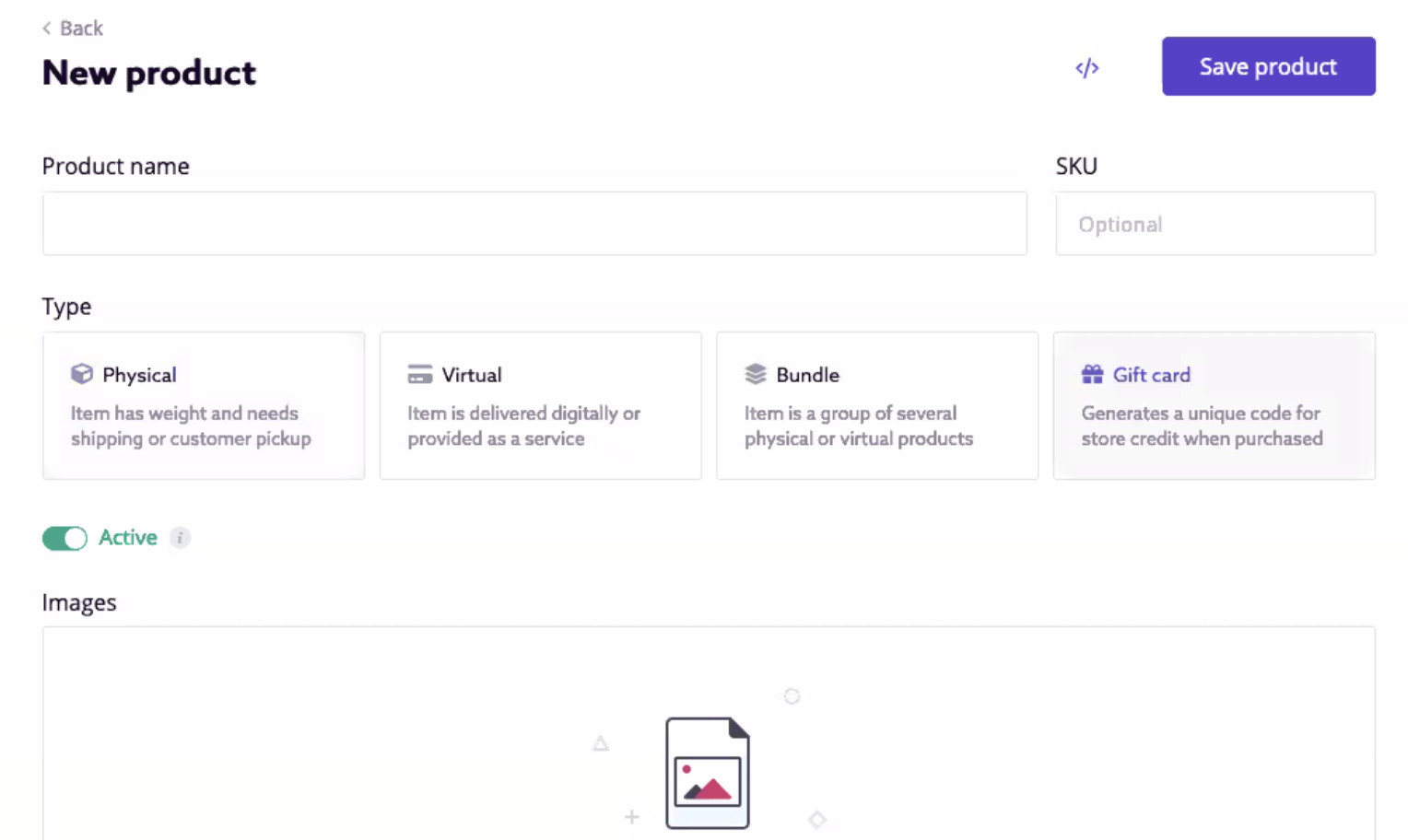 Swell new product type selector