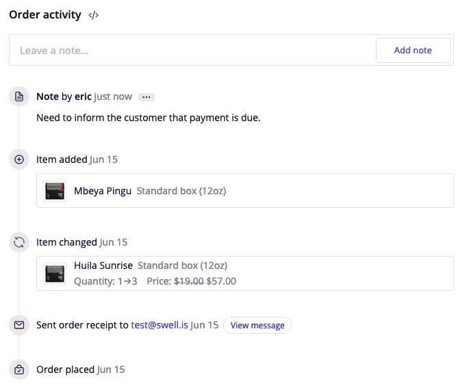 Swell order activity feed