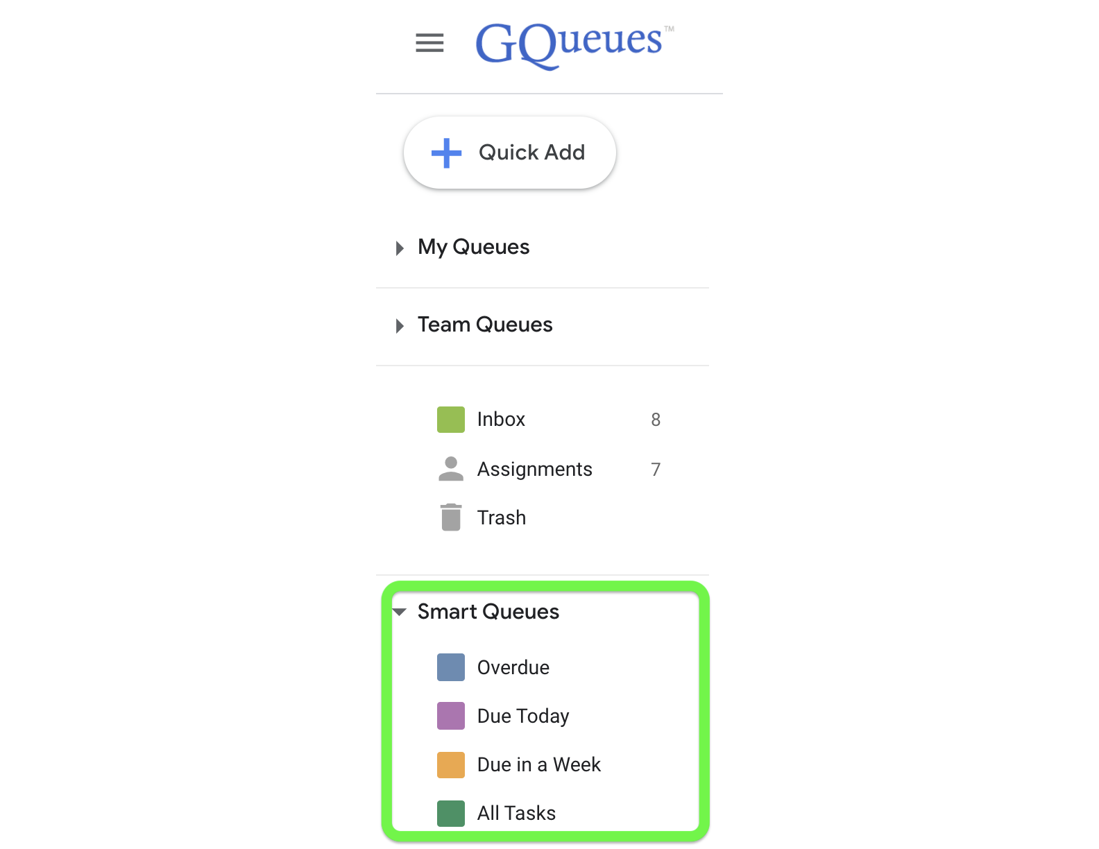 Default Smart Queues in the lefthand panel