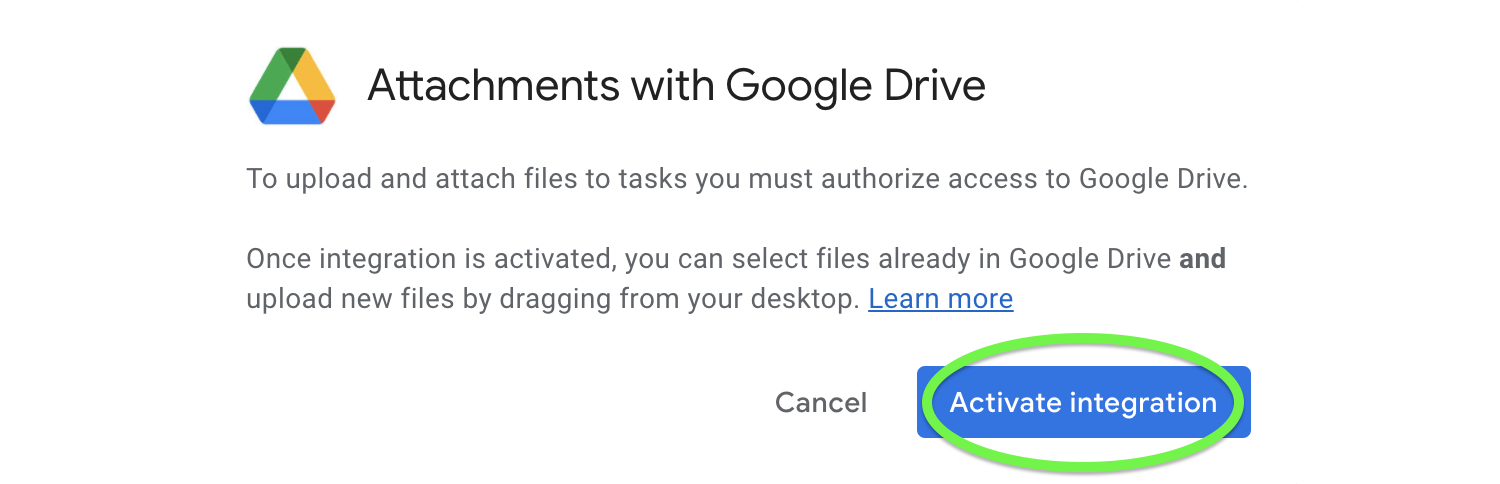 Activate Attachments and integrate with Google Drive