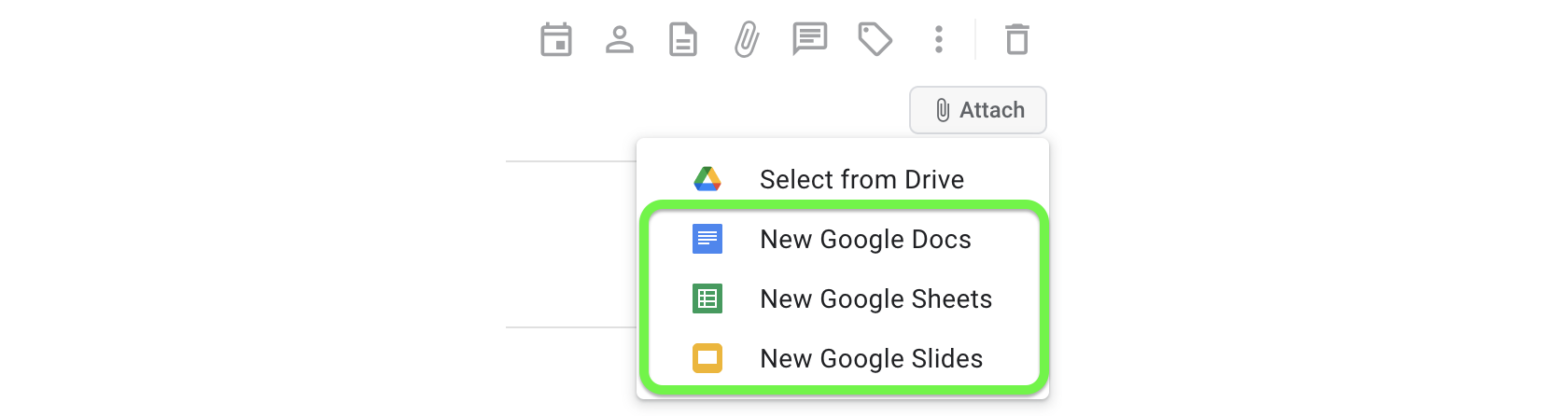 Create and attach a new file to your task