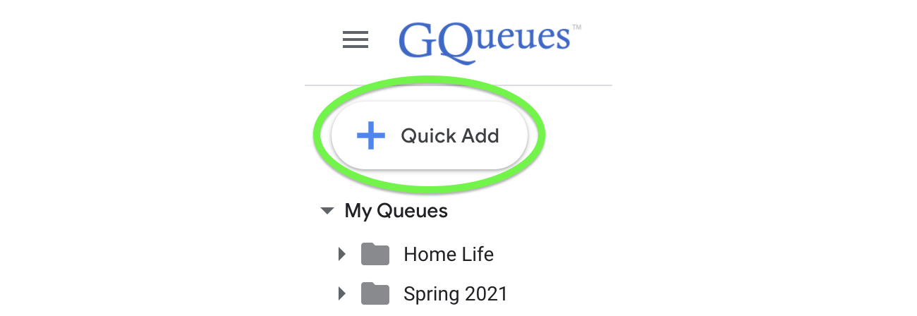 Click Quick Add to open the Quick Add Window.