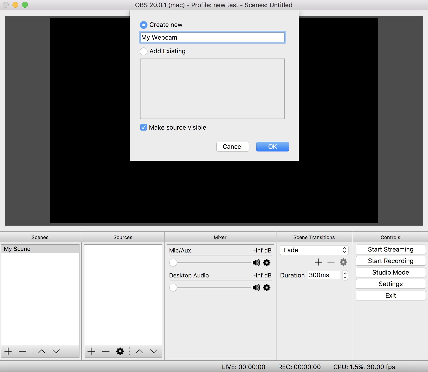 Choosing the webcam in OBS.