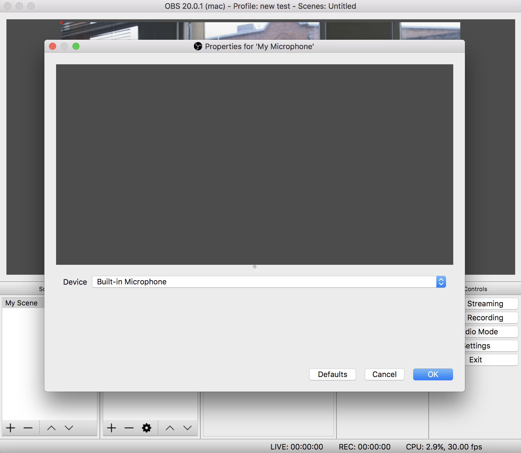 Configuring the microphone audio in OBS.