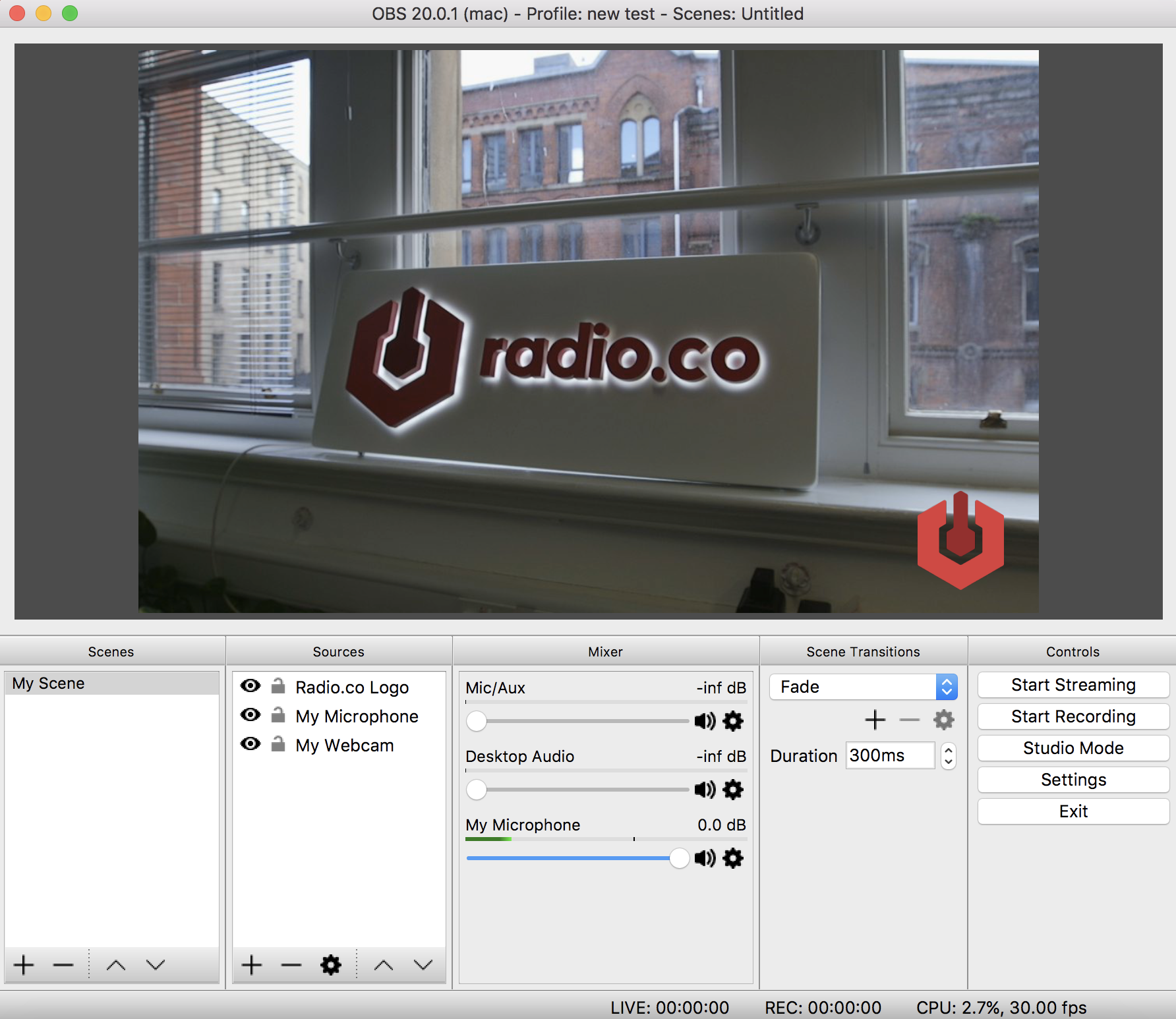 Adding a logo on screen in OBS.