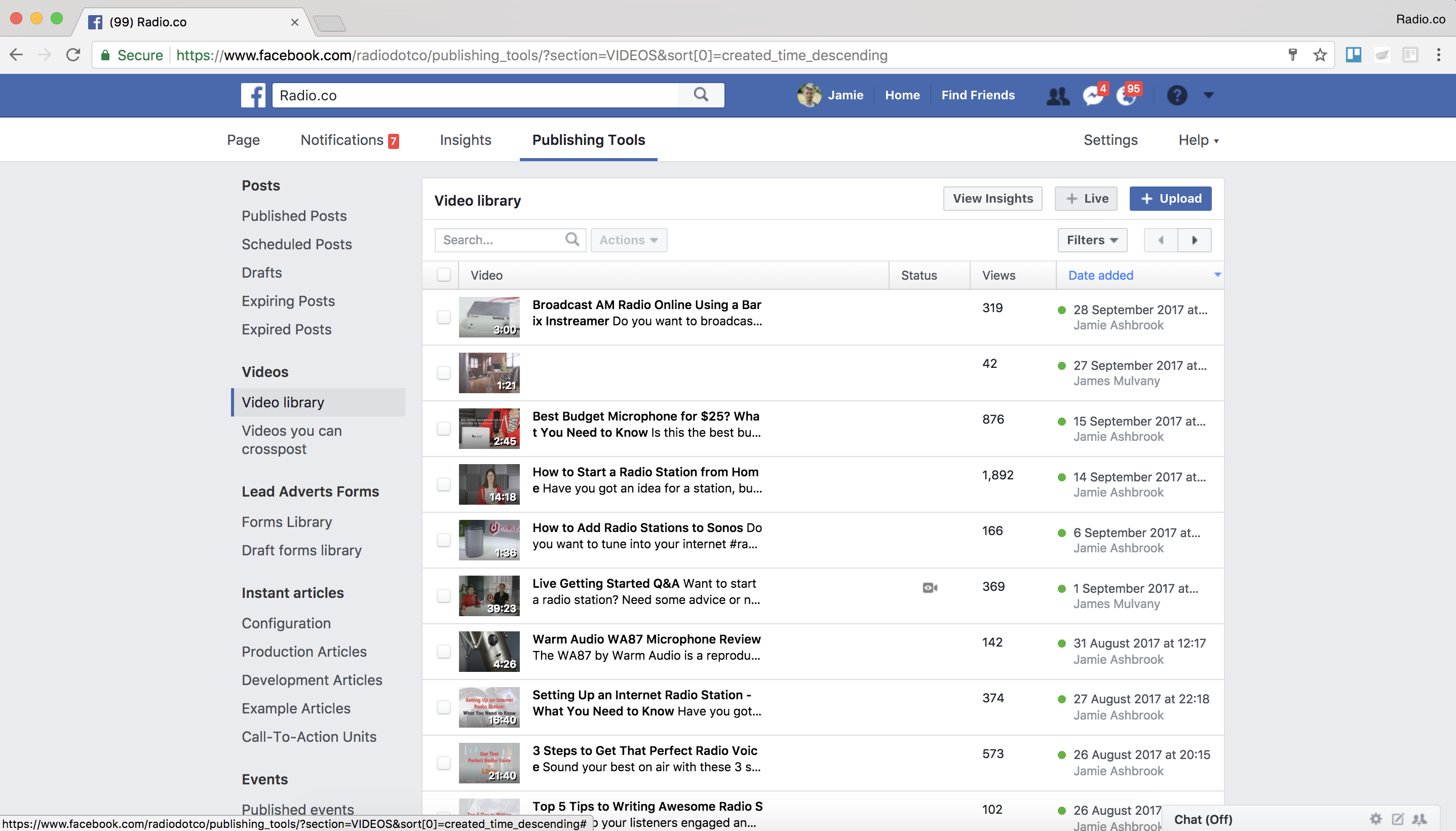 Facebook's publishing tools.