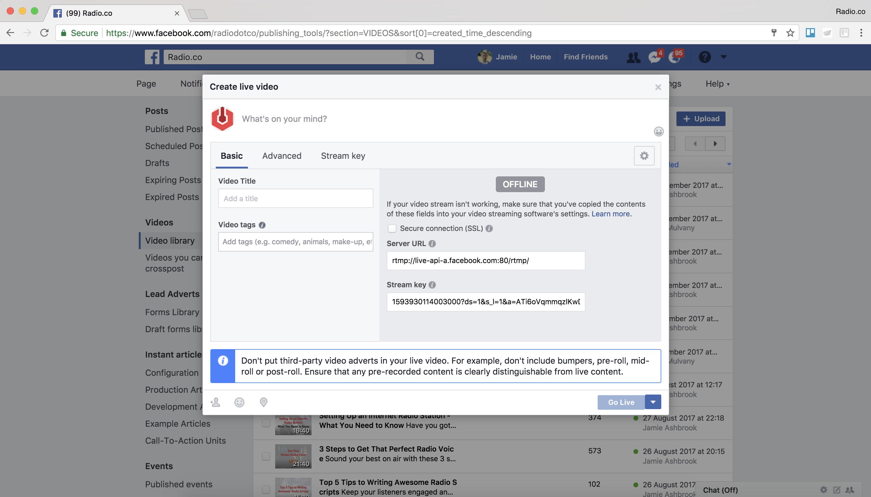 Adjusting Facebook setting for the live event.