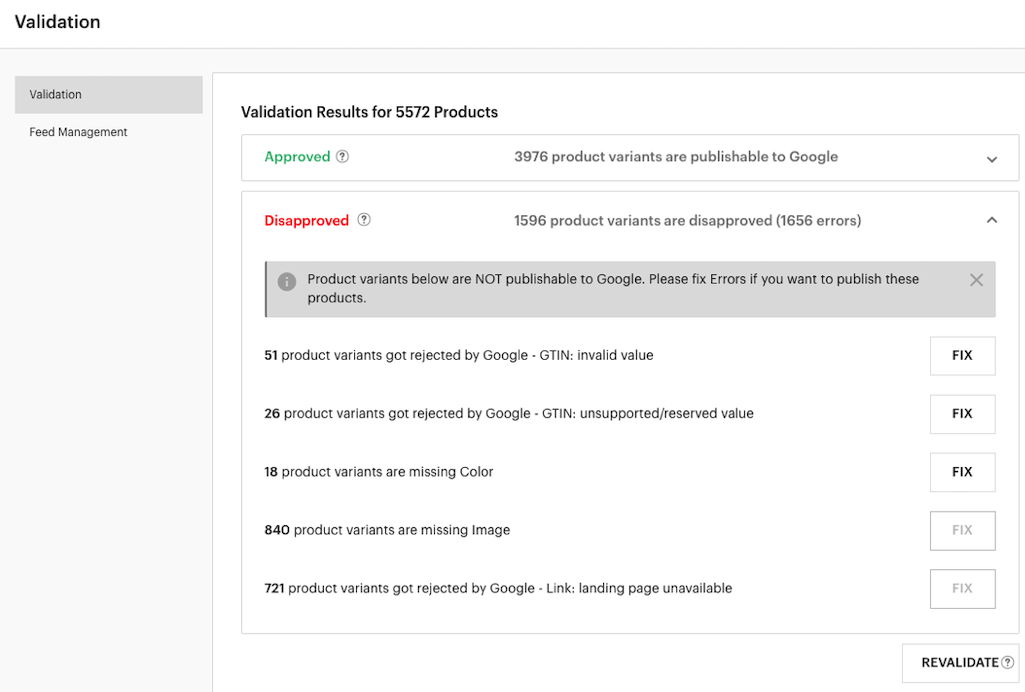 LimeSpot Product Feed Validation Disapproved Tab