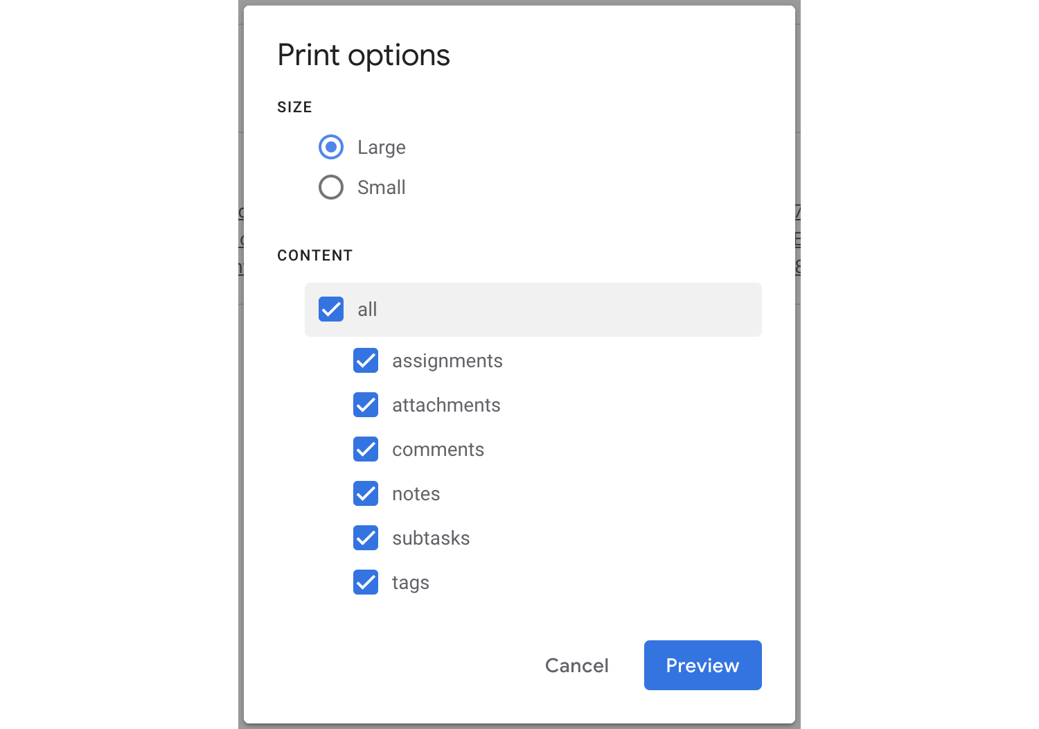 Select what information you'd like included when you print your queue