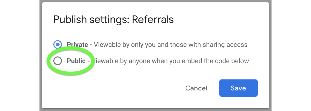 Select Public in order to publish your queue