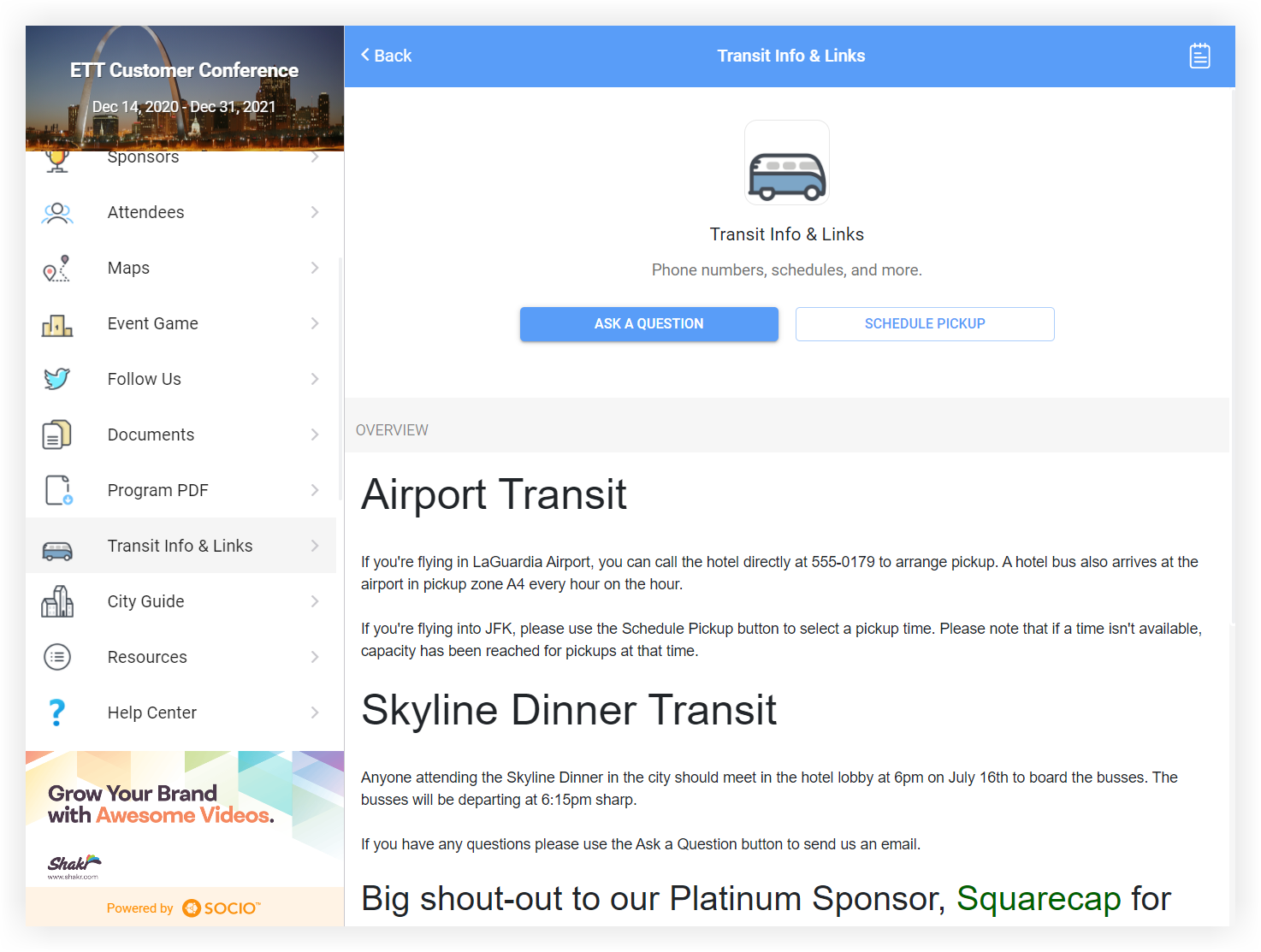 Screenshot of a single item as a Transit Info & Links feature.