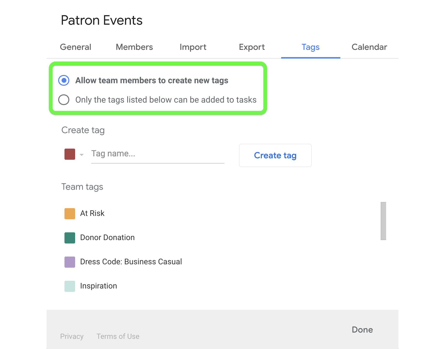 Setting to allow team members to create new tags