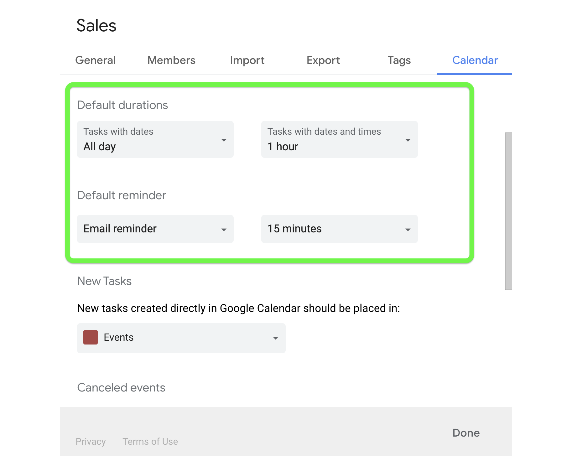 Choose default durations for your team calendars.