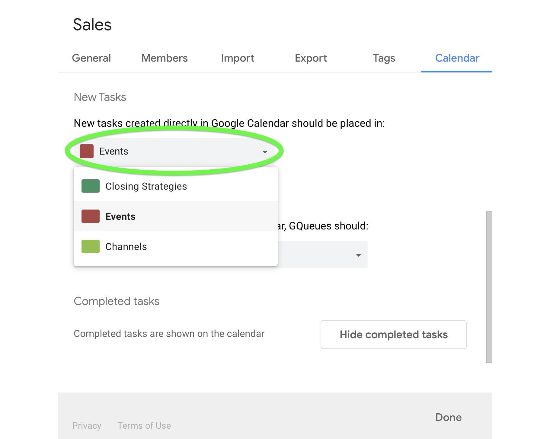 Choose default queue for tasks created from Google Calendar.