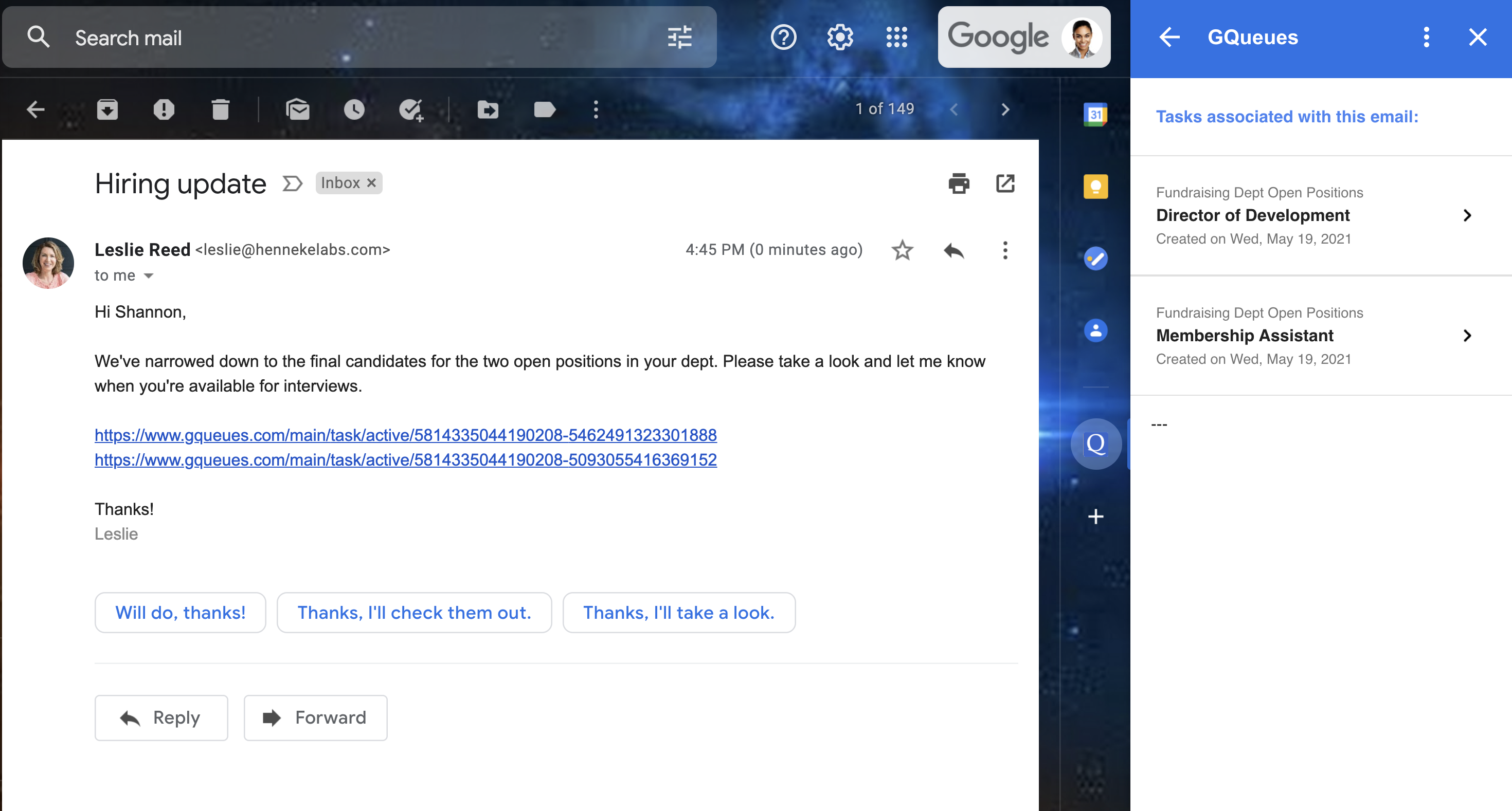 An email with GQueues task links in the email body, with corresponding tasks in the Google Workspace Add-on