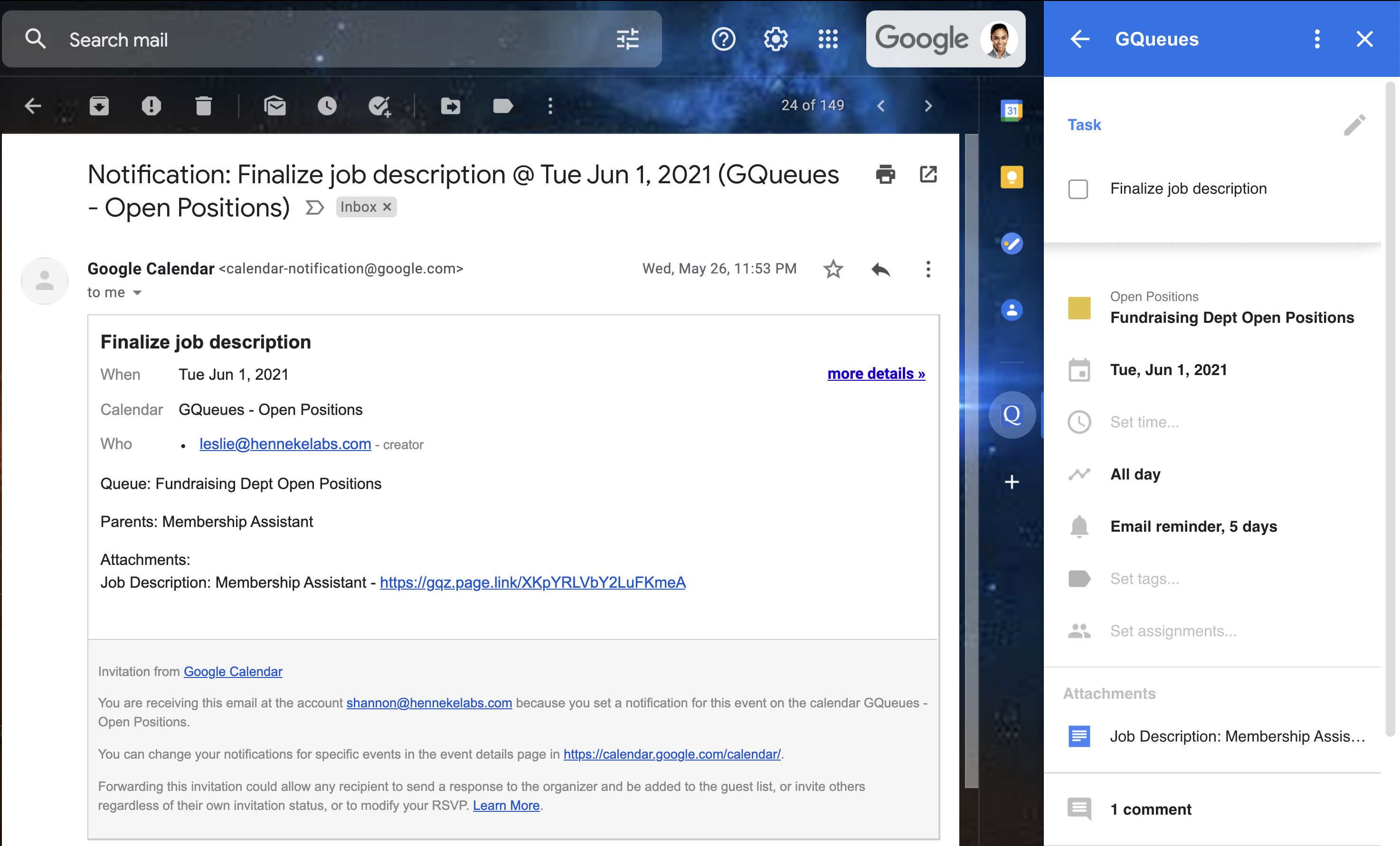 Google Calendar email reminder for an existing GQueues task, with the task details displayed in the Google Workspace Add-on