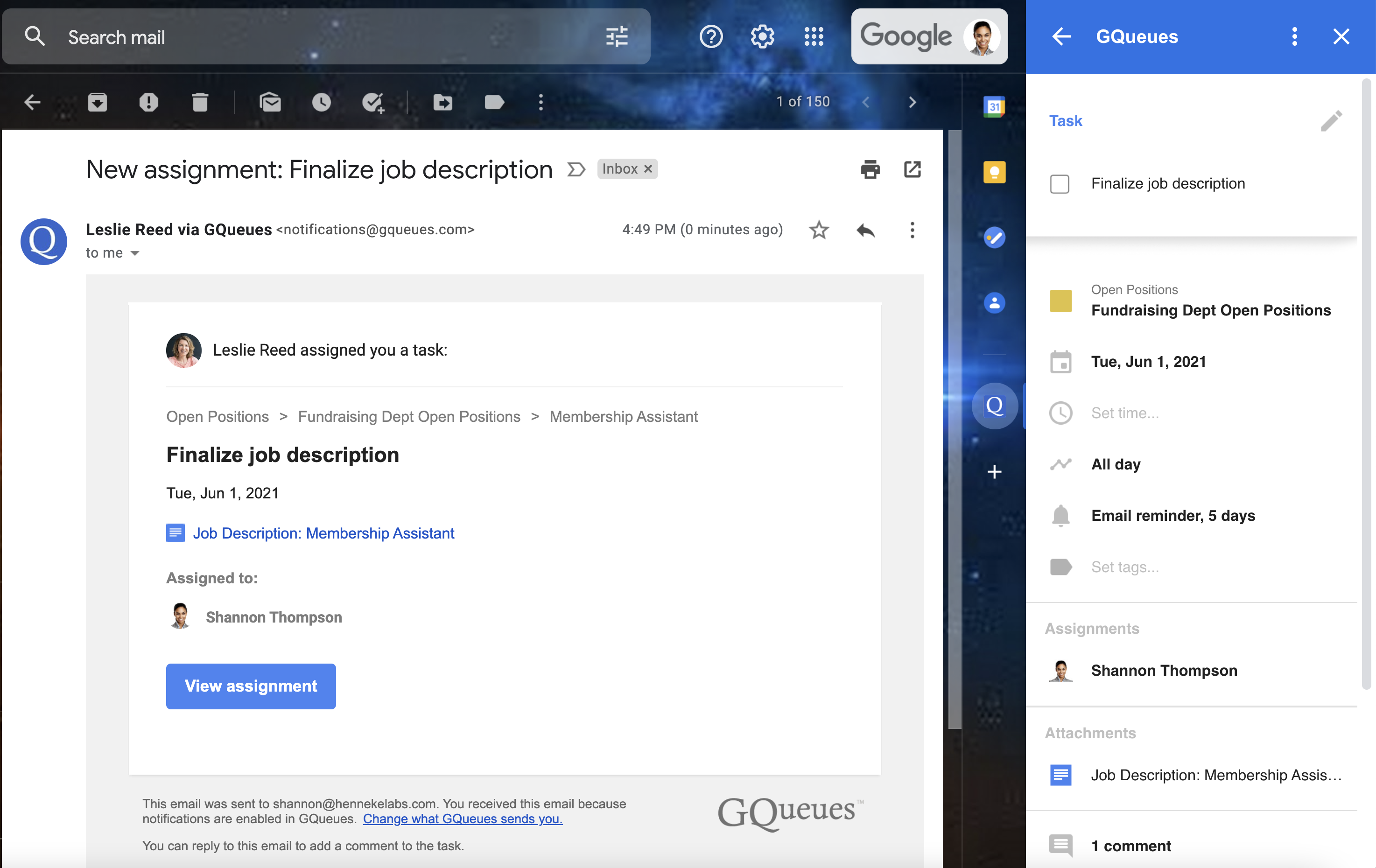 GQueues notification email with task details displayed in the Google Workspace Add-on