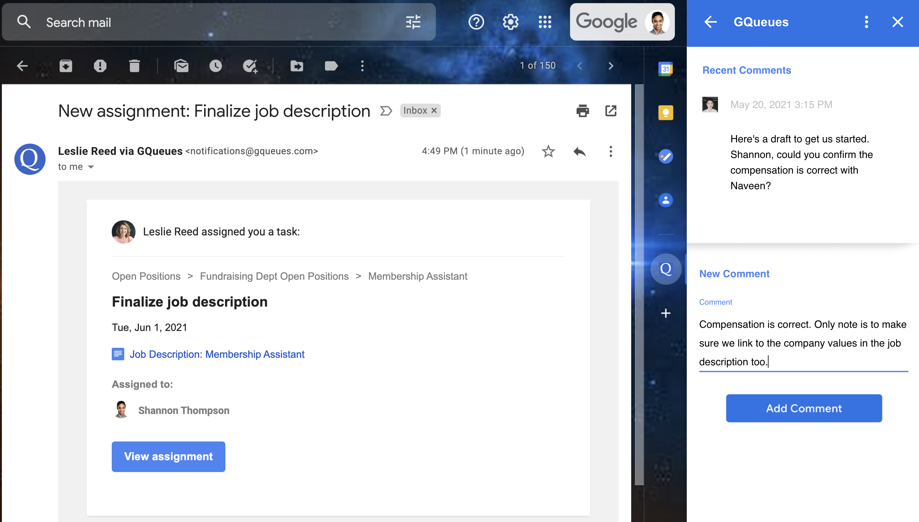 Comment on tasks assigned to you from Gmail with the Google Workspace Add-on