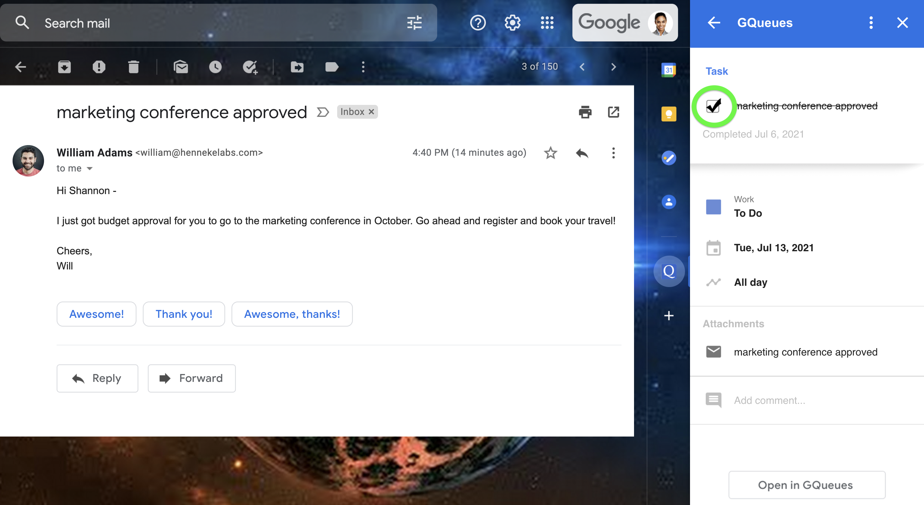 Mark a task complete directly from Gmail with the Google Workspace Add-on