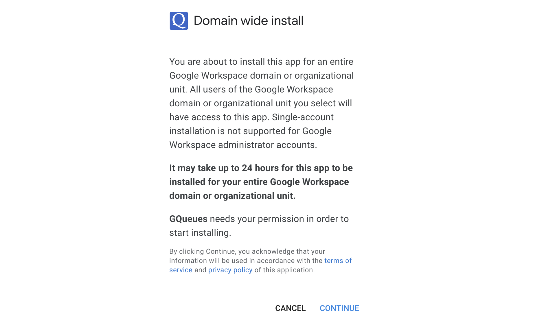 Follow the prompts to allow domain wide install