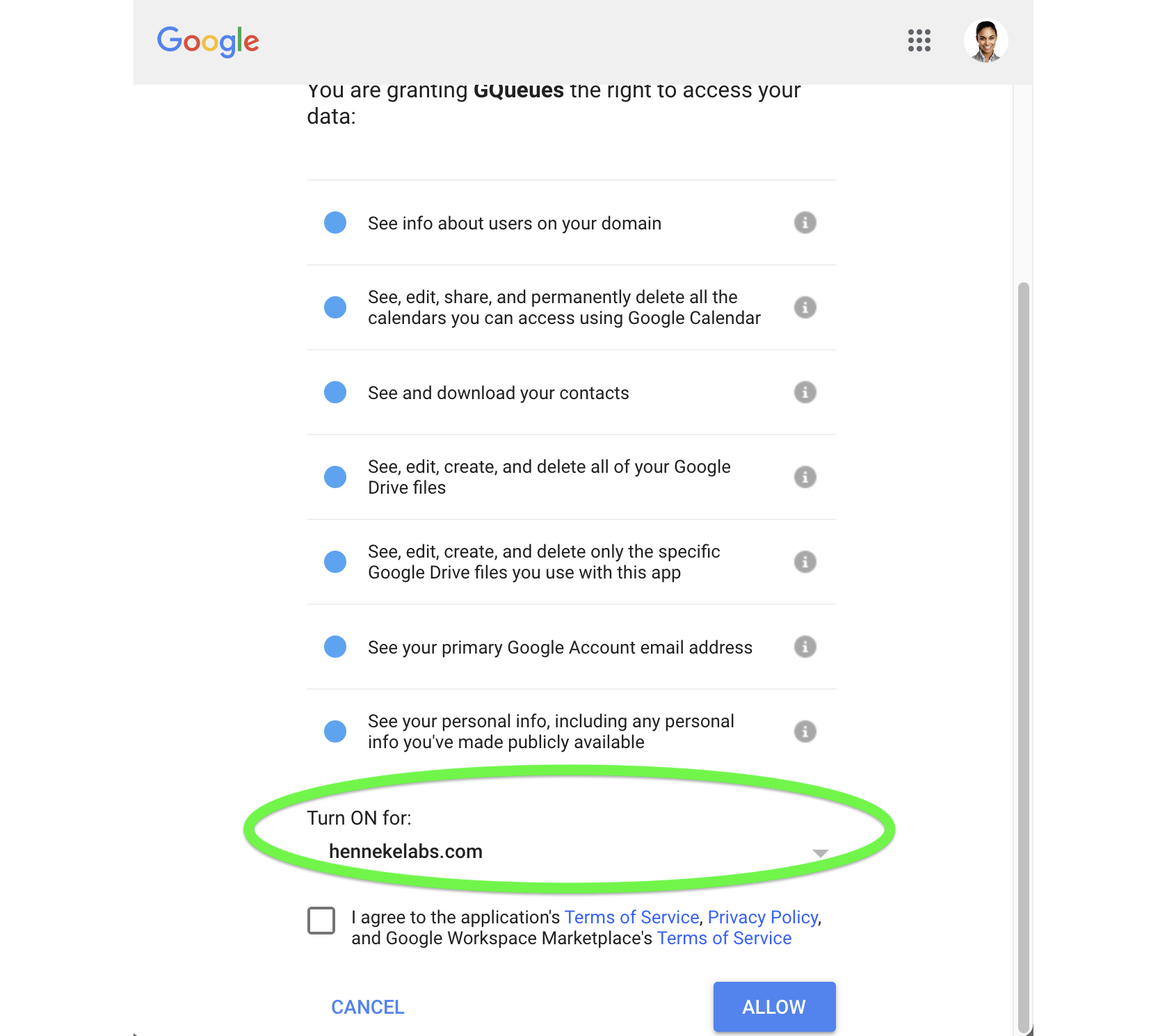 Choose whether to install the Add-on for your entire Google Workspace domain, or just for one organizational group