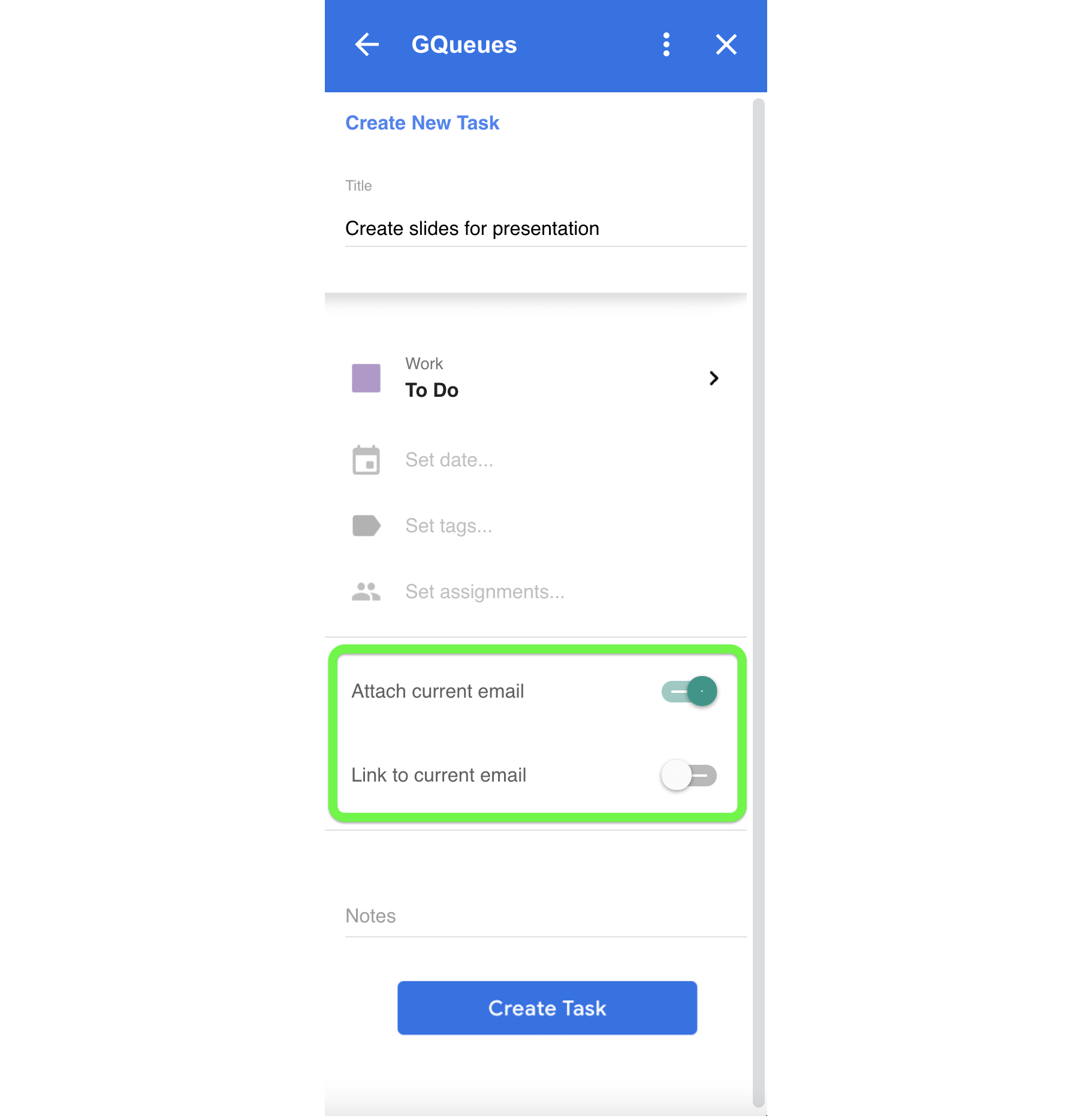 Attach or link current email to the task from within Gmail