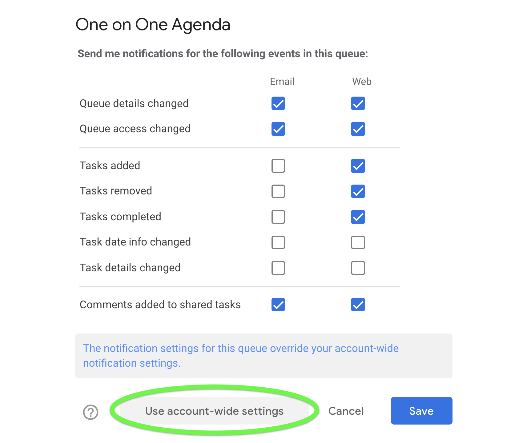 Clear a specific queue's notification settings so they align with your account-wide settings