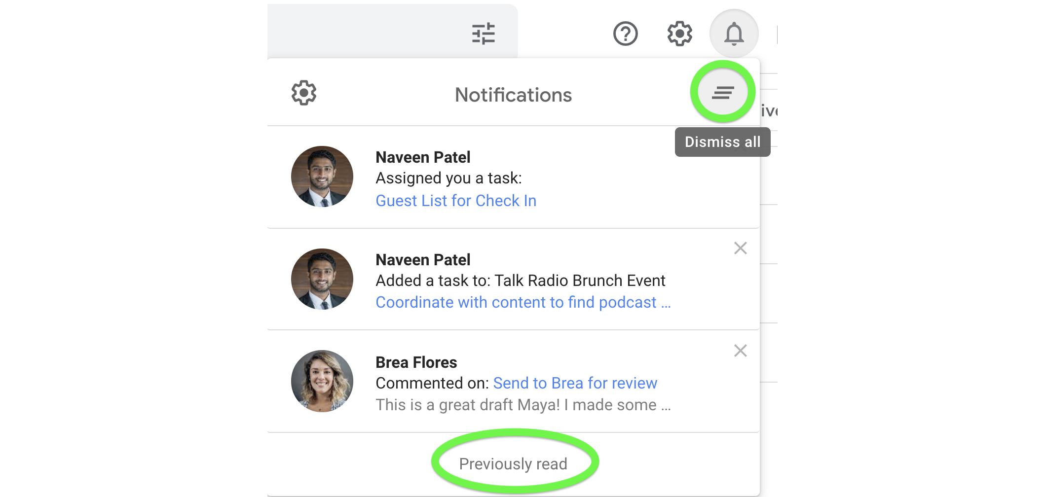 View previously read or dismiss all notifications from the notifications dropdown