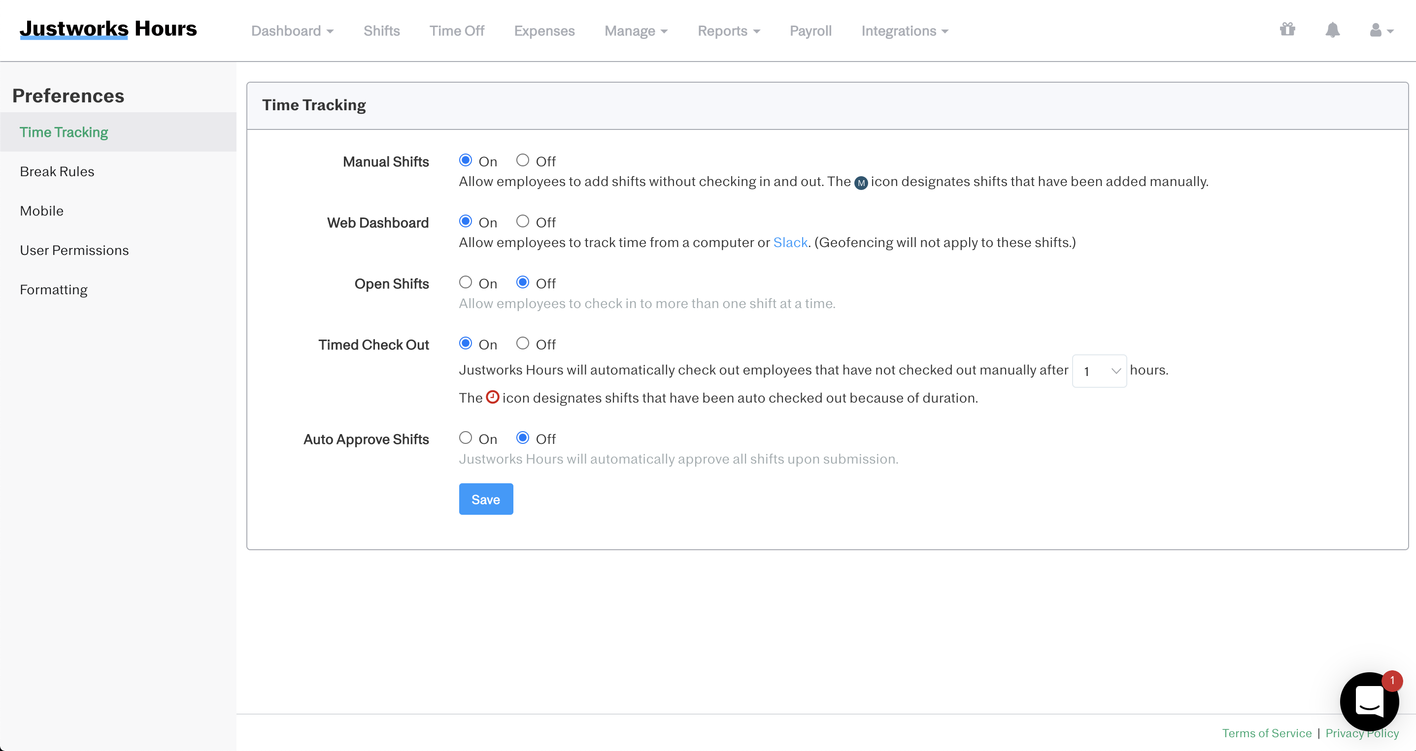 Screenshot showing how to turn on or off manual time tracking and web dashboard access for employees