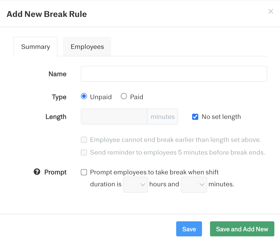 Screenshot showing how to set breaks as paid vs. unpaid, set minimum duration, and set reminders for employees to take a break