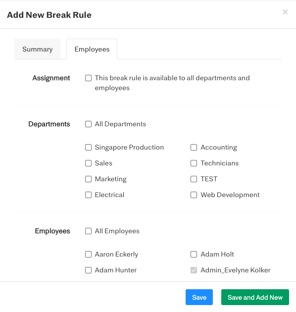 Screenshot showing where to create different break rules for different employees or departments